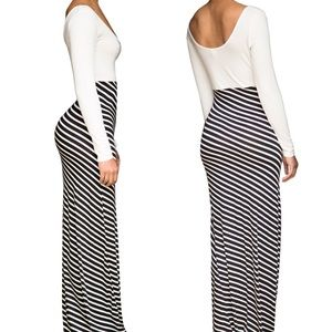 Fitted Striped Maxi Dress